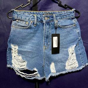 Nasty gal - Distressed denim shorts blue
